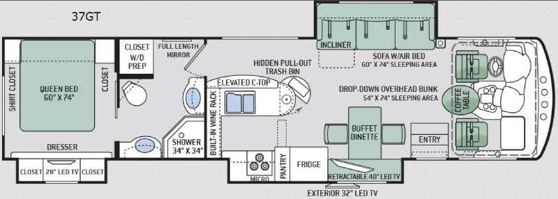 Floorplan - 2015 Thor Motor Coach Challenger 37GT