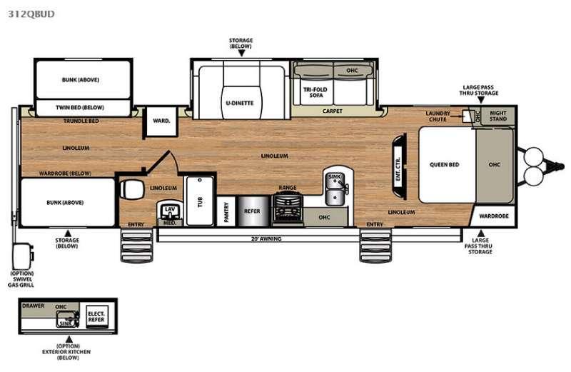 Floorplan - 2015 Forest River RV Salem Hemisphere Lite 312QBUD