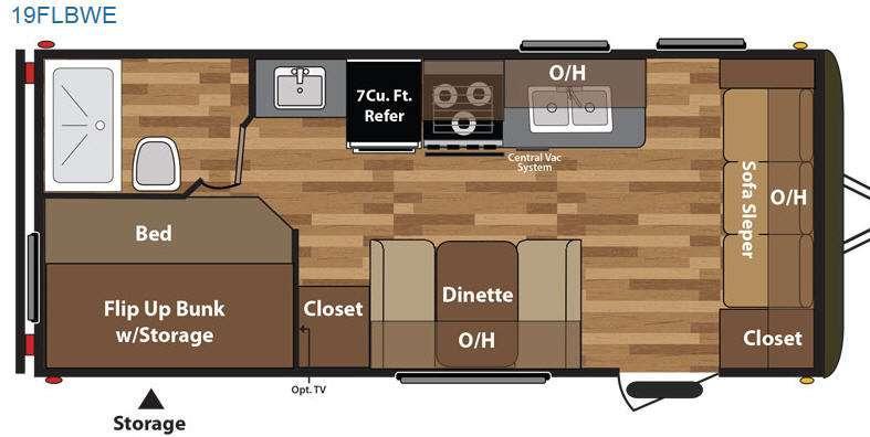 Floorplan - 2015 Keystone RV Hideout 19FLBWE