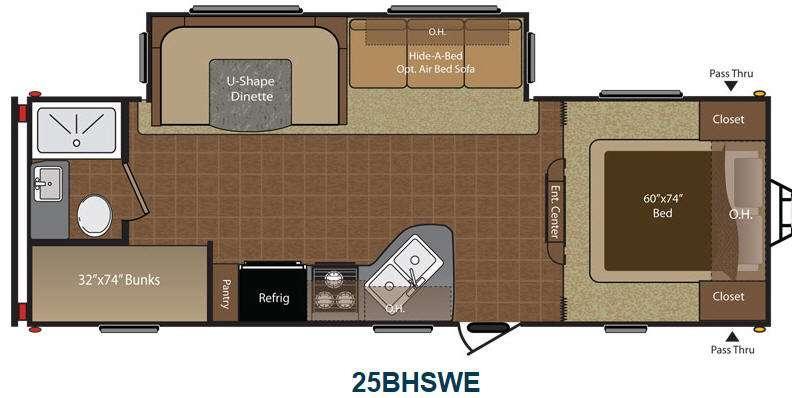 Floorplan - 2015 Keystone RV Hideout 25BHSWE