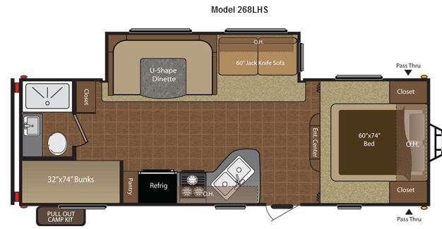 Floorplan - 2015 Keystone RV Hideout 268LHS