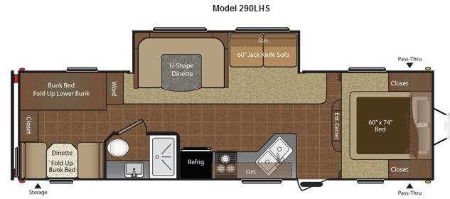 Floorplan - 2015 Keystone RV Hideout 290LHS