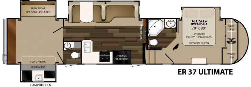 Floorplan - 2015 Heartland ElkRidge 37 Ultimate