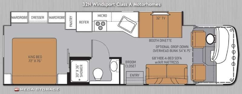 Floorplan - 2014 Thor Motor Coach Windsport 32N