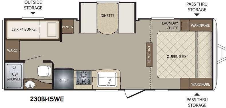 Floorplan - 2015 Keystone RV Bullet 230BHSWE