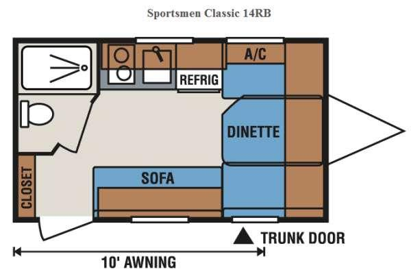 Floorplan - 2015 KZ Sportsmen Classic 14RB