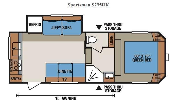 Floorplan - 2015 KZ Sportsmen S235RK