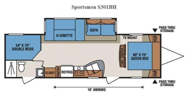 Floorplan - 2015 KZ Sportsmen S301BH