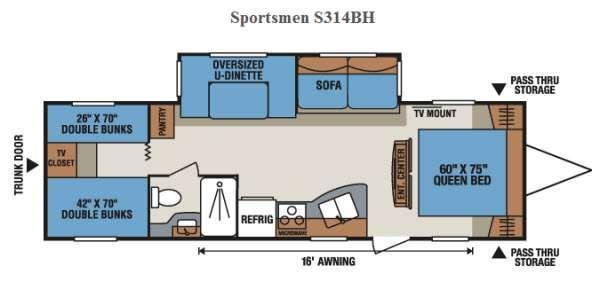 Floorplan - 2015 KZ Sportsmen S314BH