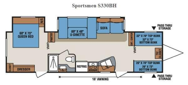 Floorplan - 2015 KZ Sportsmen S330BH