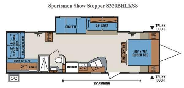 Floorplan - 2015 KZ Sportsmen Show Stopper S320BHLKSS