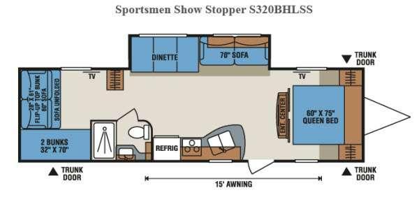 Floorplan - 2015 KZ Sportsmen Show Stopper S320BHLSS