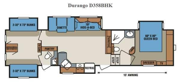 Floorplan - 2015 KZ Durango D358BHK