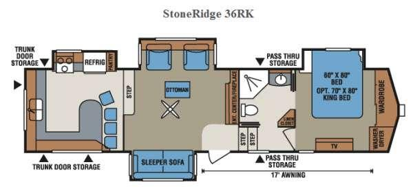 Floorplan - 2015 StoneRidge 36RK Fifth Wheel