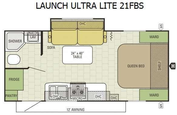Floorplan - 2015 Starcraft Launch Ultra Lite 21FBS