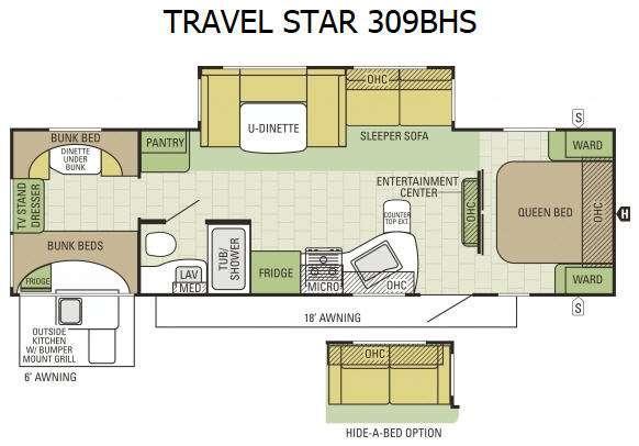 Floorplan - 2015 Starcraft Travel Star 309BHS