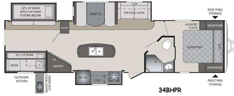 Floorplan - 2015 Keystone RV Premier Ultra Lite 34BHPR