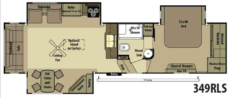Open Range RV 349RLS Floorplan Image