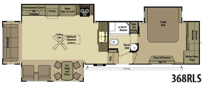 Open Range RV 368RLS Floorplan Image