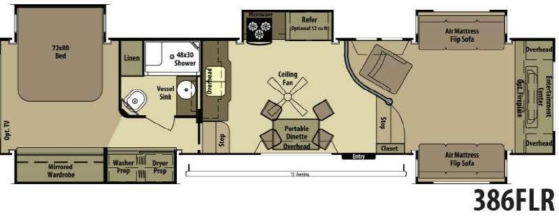 Open Range RV 386FLR Floorplan Image