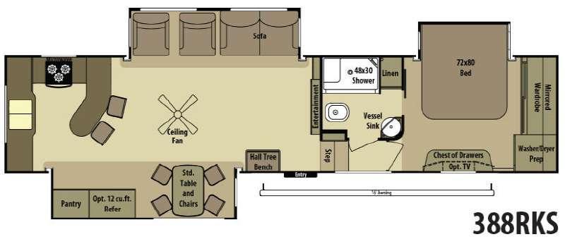 Open Range RV 388RKS Floorplan Image