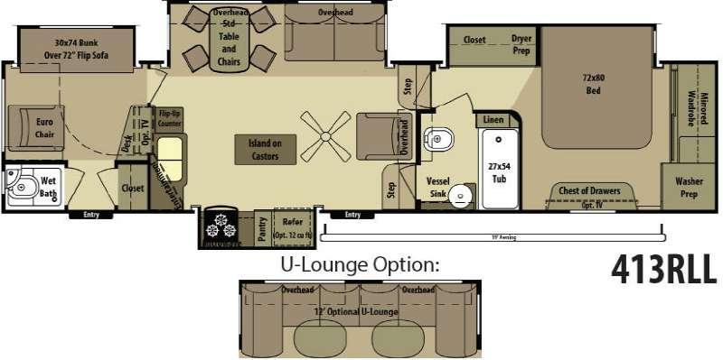 Open Range RV 413RLL Floorplan Image