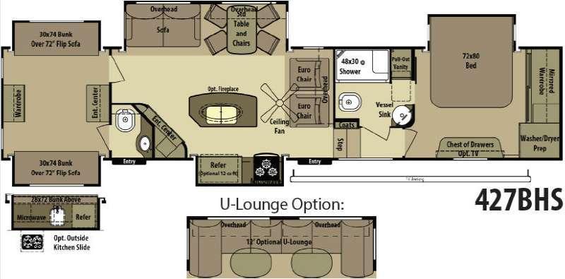 Open Range RV 427BHS Floorplan Image