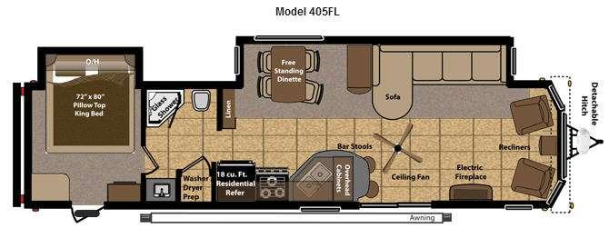 Floorplan - 2015 Keystone RV Residence 405FL