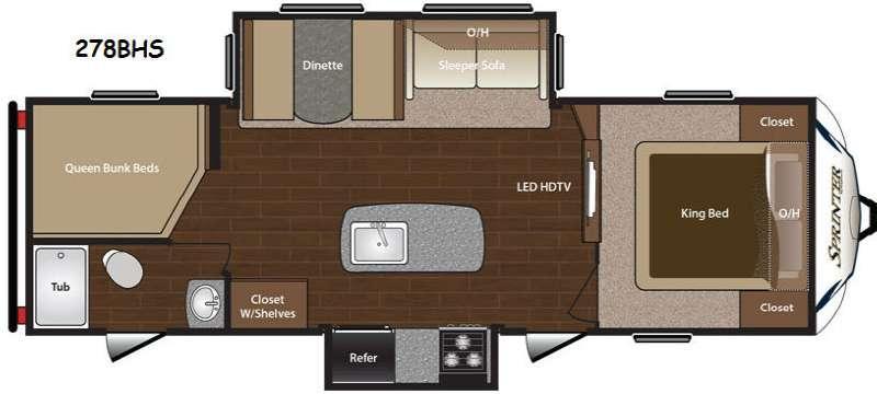 Floorplan - 2015 Keystone RV Sprinter 278BHS