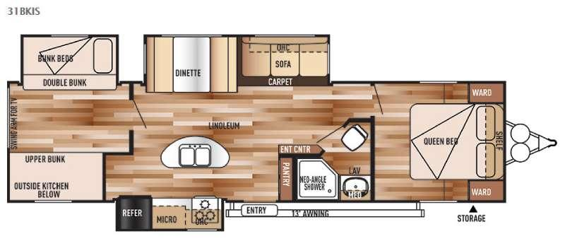 Floorplan - 2015 Forest River RV Salem 31BKIS