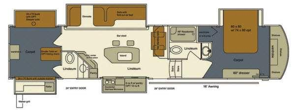 Floorplan - 2015 EverGreen RV Bay Hill 385BH