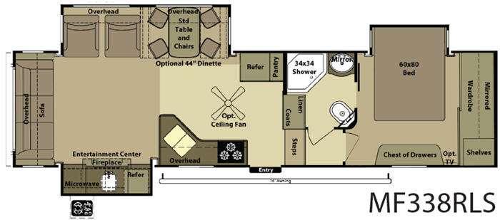 Floorplan - 2015 Open Range RV Mesa Ridge MF338RLS