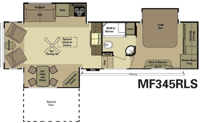 Floorplan - 2015 Open Range RV Mesa Ridge MF345RLS