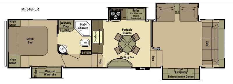 Floorplan - 2015 Open Range RV Mesa Ridge MF346FLR