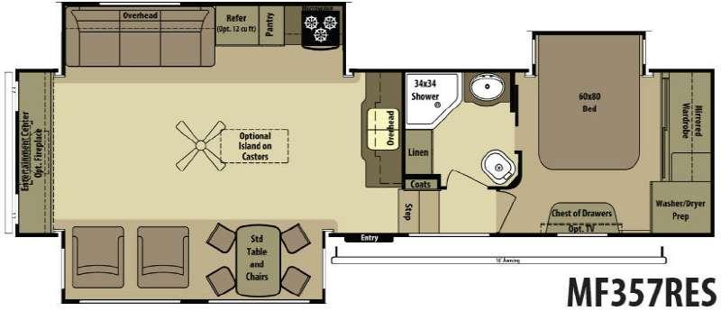 Floorplan - 2015 Open Range RV Mesa Ridge MF357RES