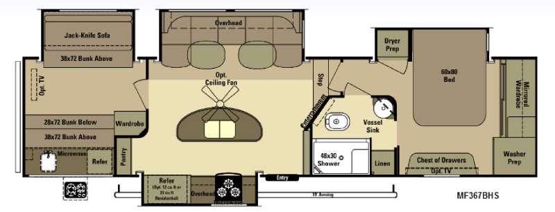 Floorplan - 2015 Open Range RV Mesa Ridge MF367BHS