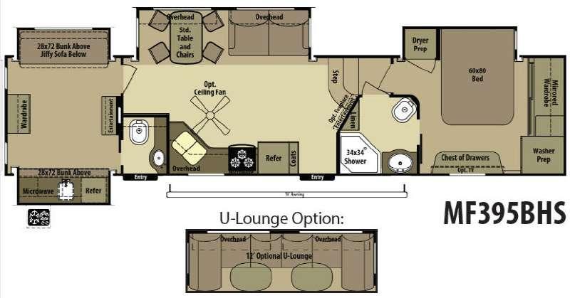 Floorplan - 2015 Open Range RV Mesa Ridge MF395BHS