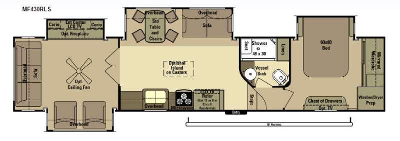Floorplan - 2015 Open Range RV Mesa Ridge MF430RLS