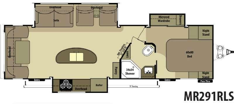 Floorplan - 2015 Open Range RV Mesa Ridge MR291RLS