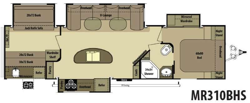 Floorplan - 2015 Open Range RV Mesa Ridge MR310BHS