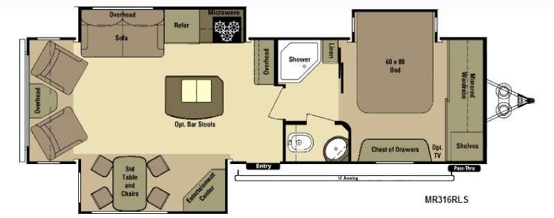 Floorplan - 2015 Open Range RV Mesa Ridge MR316RLS