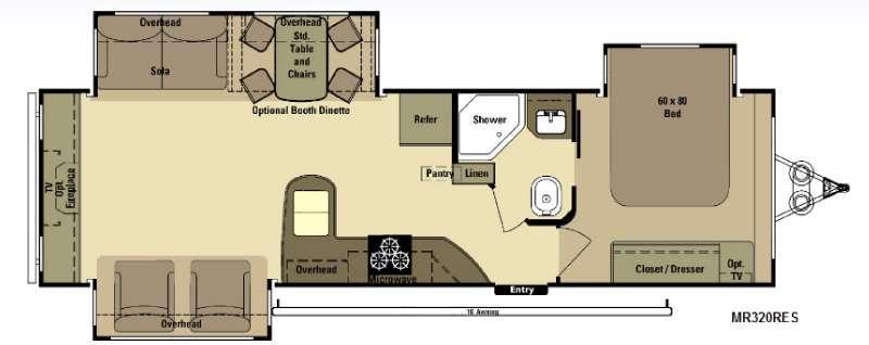 Floorplan - 2015 Open Range RV Mesa Ridge MR320RES