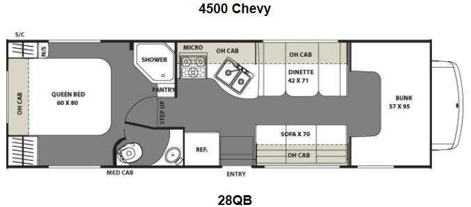 Floorplan - 2015 Coachmen RV Freelander 28QB  Chevy 4500