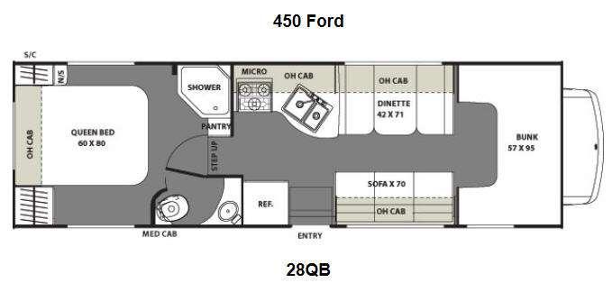 Floorplan - 2015 Coachmen RV Freelander 28QB Ford 450