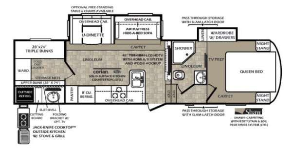 Floorplan - 2015 Forest River RV Wildcat 312BHX OK eXtraLite