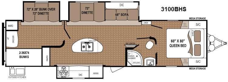 Aspen Trail 3100BHS Floorplan Image