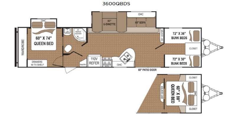 Aspen Trail 3600QBDS Floorplan Image