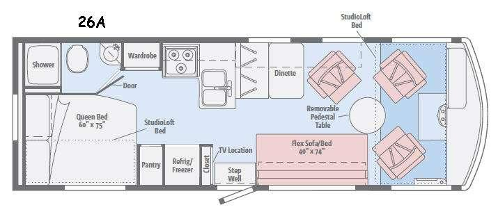Floorplan - 2015 Winnebago Brave 26A