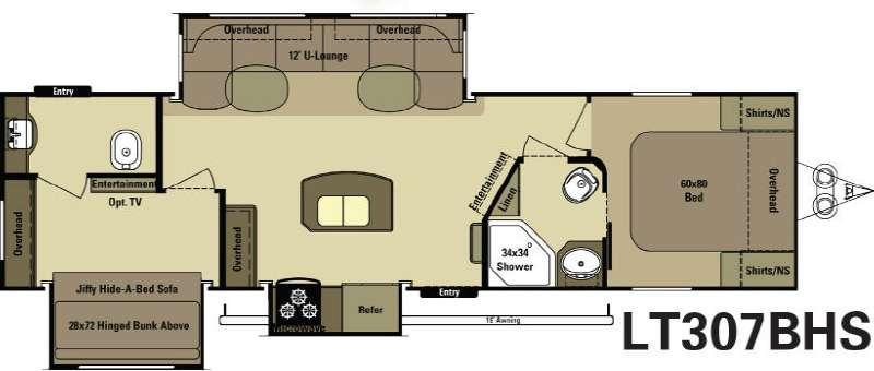 Floorplan - 2015 Open Range RV Light LT307BHS