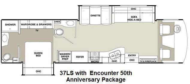 Floorplan - 2015 Coachmen RV Encounter 37LS 50th Anniversary Edition